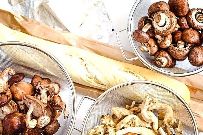 mixed fresh mushroom casserole ingredients