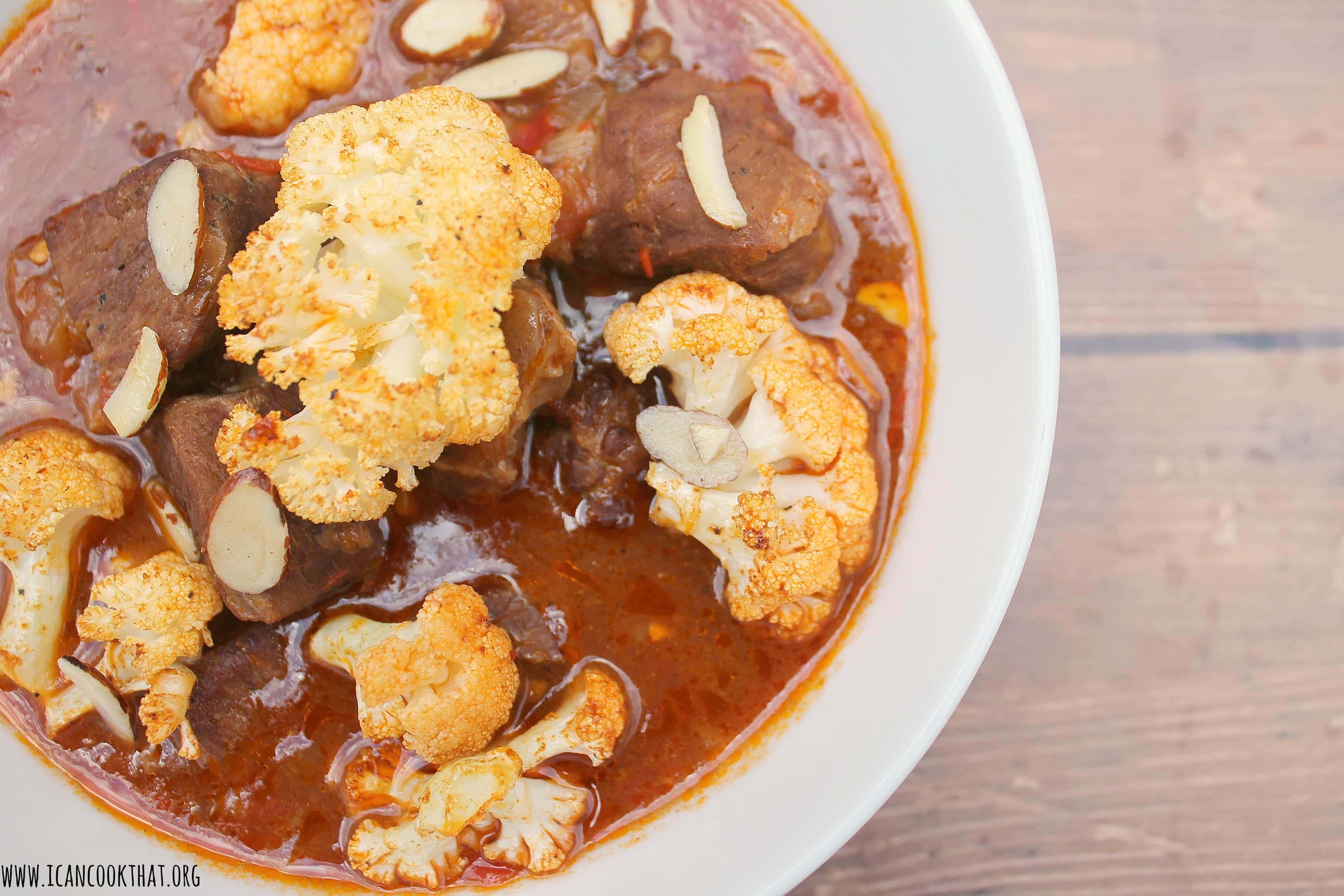 Lamb and Roasted Cauliflower Stew with Harissa