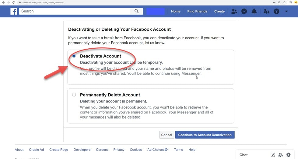 Click on Deactivate Account