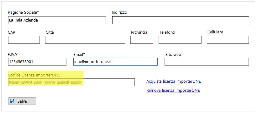 codice attivazione ImporterONE