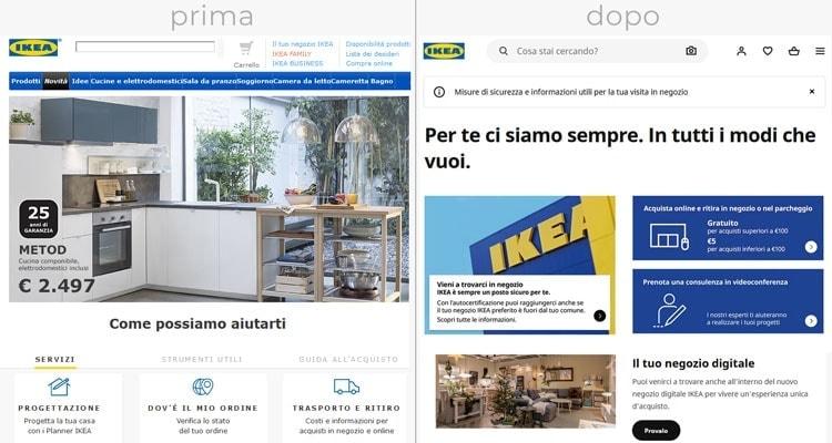 Restyling sito web Ikea: prima e dopo