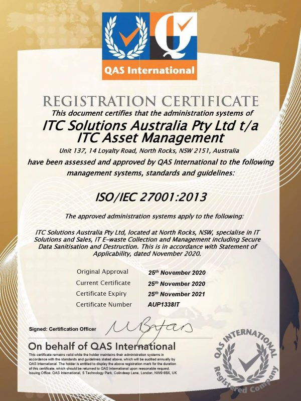 ITC_Asset_Management_sydney_e-waste_ISO27001_certificate