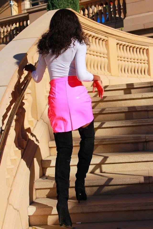 Neon leather skirt