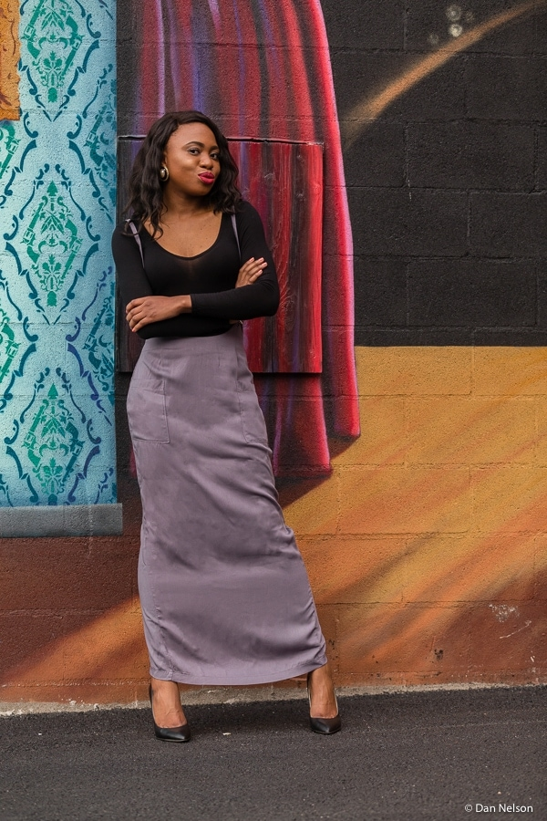 Long maxi skirt with back slit
