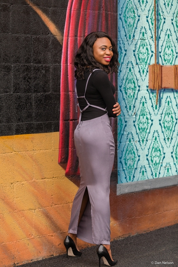 In love with this Tobi fitted maxi skirt with back slit and overalls-strap details