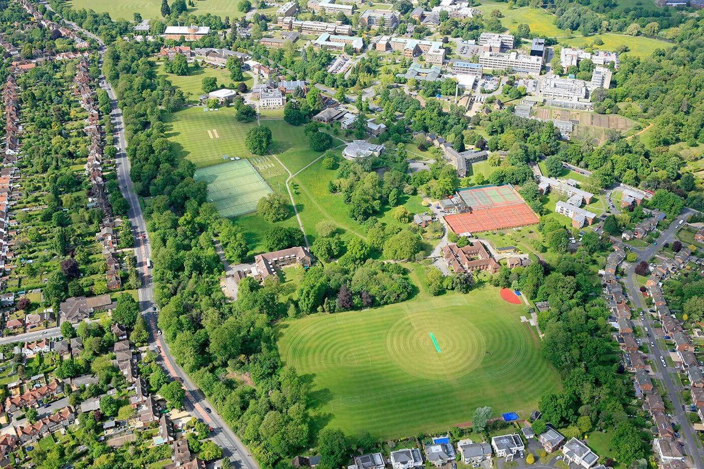 Aerial view from the school and surrounding