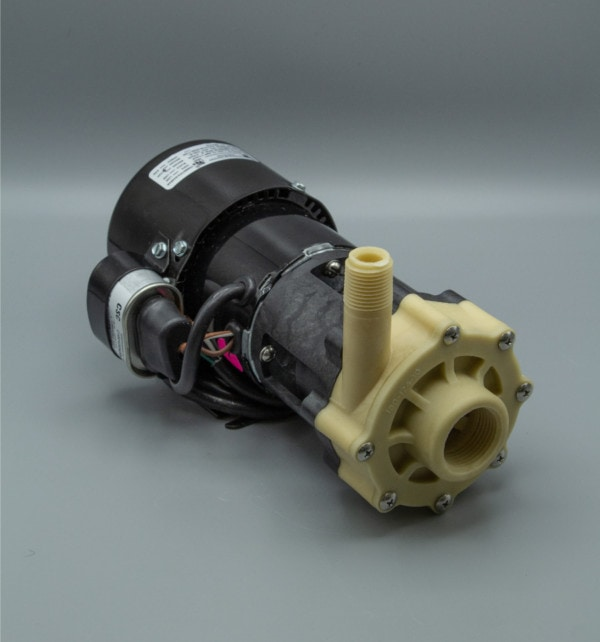 March Pump's BC-4K-MD centrifugal sealless magnetic drive pumps constructed from Kynar ideal for chemical applications.