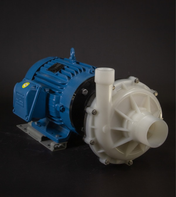 March Pump's TE-10K-MD centrifugal sealless magnetic drive pumps constructed from Kynar ideal for chemical applications.