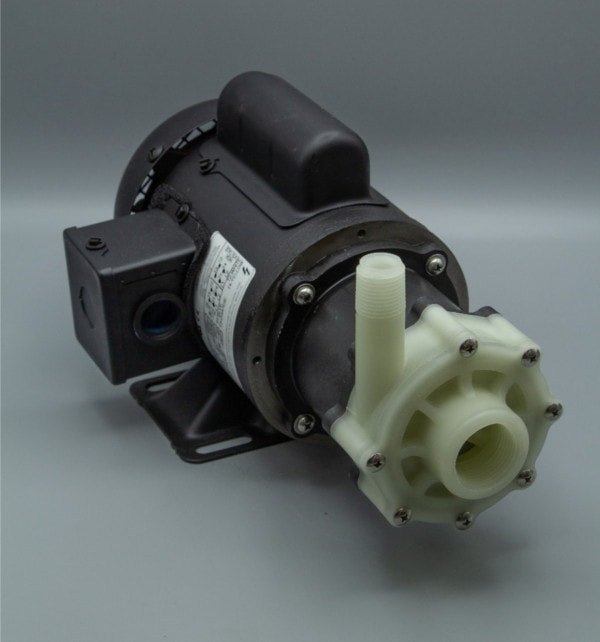 March Pump's TE-5C-MD centrifugal sealless magnetic drive pumps constructed from Polypropylene ideal for chemical applications.