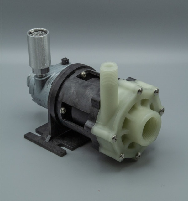 March Pump's TE-5C-MD-AM centrifugal sealless magnetic drive air powered pumps constructed from Polypropylene ideal for chemical applications.