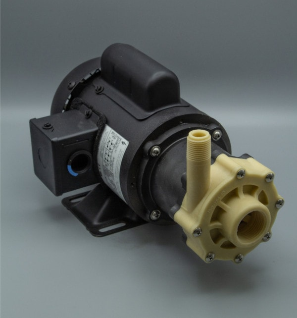 March Pump's TE-5K-MD centrifugal sealless magnetic drive pumps constructed from Kynar great for chemical applications.