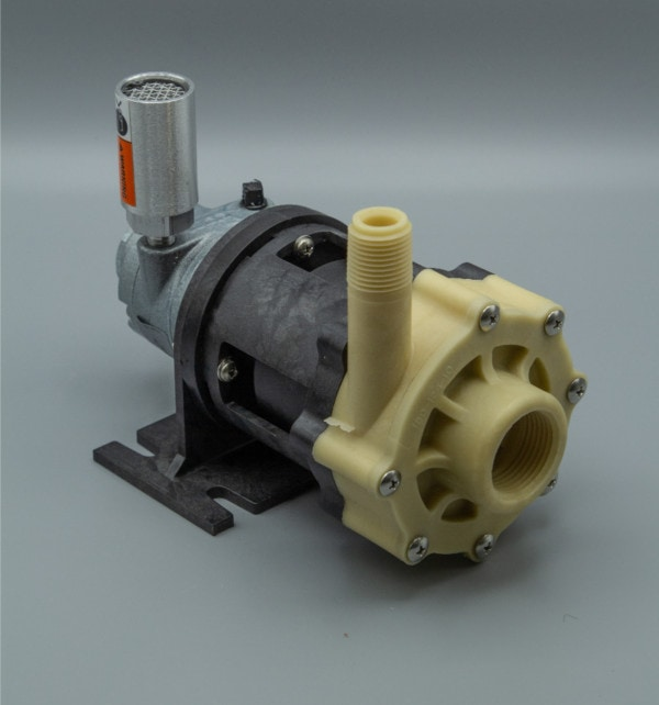 March Pump's TE-5K-MD-AM centrifugal sealless magnetic drive air powered pumps constructed from PVDF ideal for chemical applications.