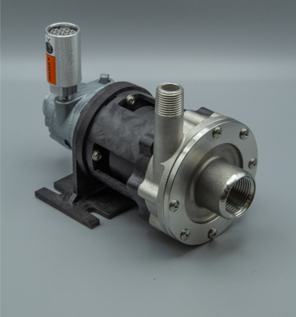 March Pump's TE-5S-MD-AM centrifugal sealless magnetic drive air powered pumps constructed from 316 Stainless Steel ideal for chemical applications.
