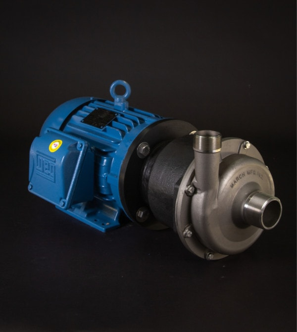 March Pump's TE-8S-MD centrifugal sealless magnetic drive pumps constructed from 316 Stainless Steel ideal for chemical applications.