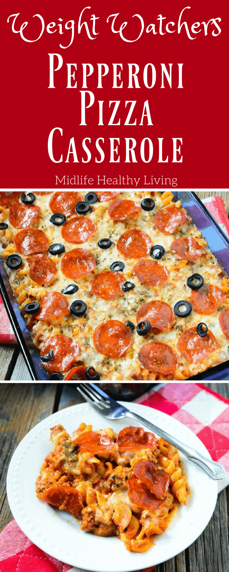 Try this delicious Weight Watchers friendly Pepperoni Pizza Casserole. It's only 7 Freestyle SmartPoints per serving. A great comfort food to feed the whole family!