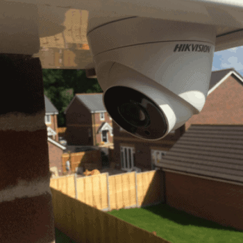 CCTV camera on house soffit