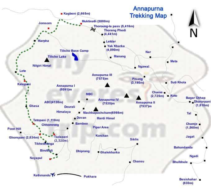 Annapurna trekking map image