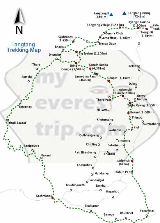 Langtang trekking map
