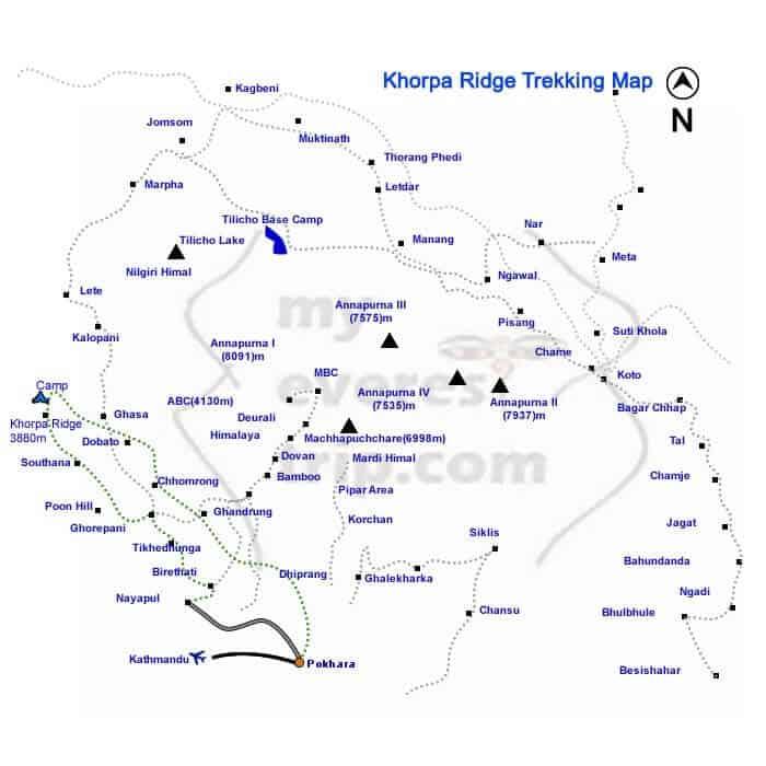 Khopra ridge trekking map
