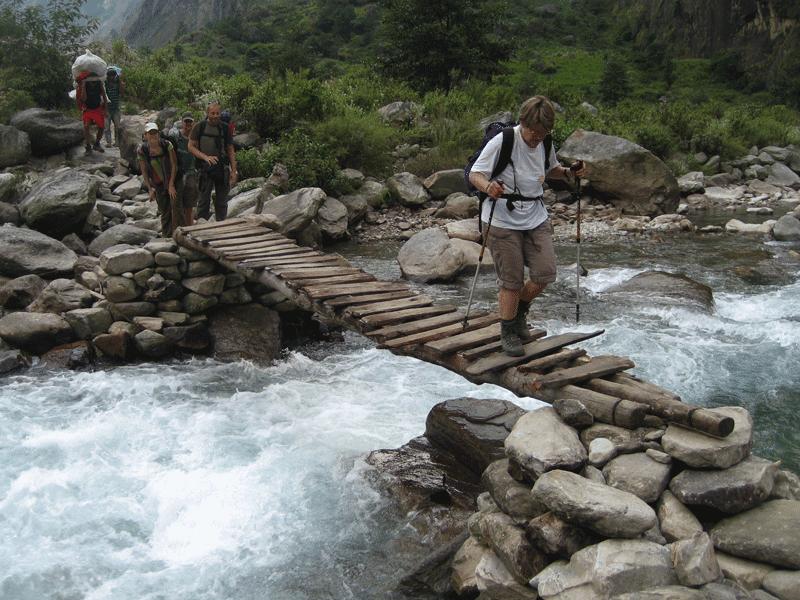 Manaslu Trek wooden bridge