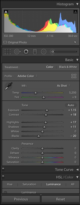 Adobe Lightroom Classic CC Develop Right menu
