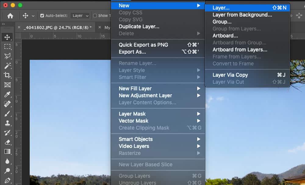 Photoshop new layer menu