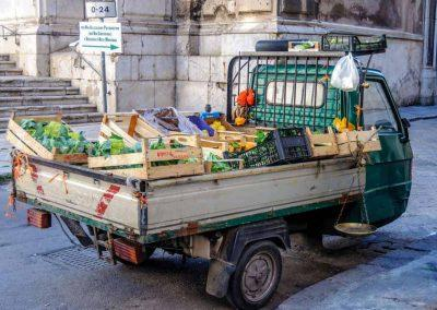 A mobile fruit store in Italy