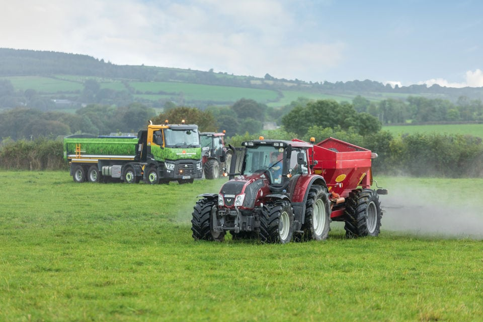 Grolime being spread by tractors