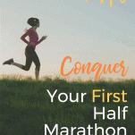 woman training for half marathon running in grass