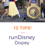Runner with snow white and Dopey Challenge medal