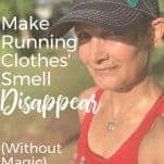 sweaty female runner with smelly running clothes