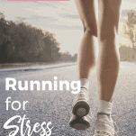 female running on street alone for stress relief