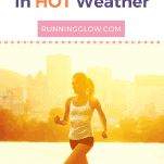 female running along water and city in hot weather
