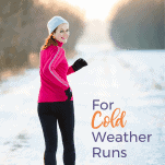 female running in cold weather on snow