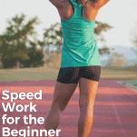 female runner on track stretching