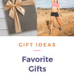 gift and a happy female runner