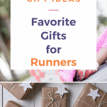 wrapped gifts and a female runner