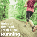 female running on trail with etiquette