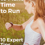 female runner in nature looking at watch