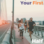 half marathon runners on a bridge