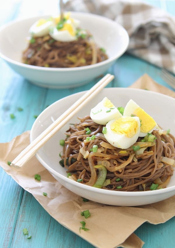Soba Noodles with Leeks, Sweet Onions and Egg