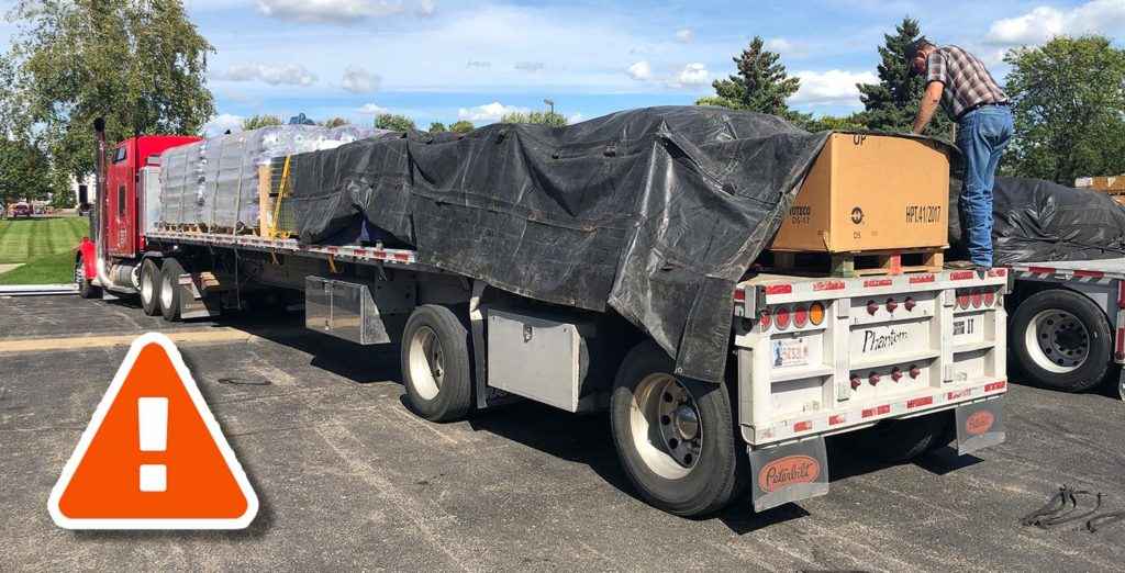 Flatbed trailer tarping without protection