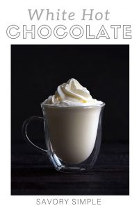 White hot chocolate with text overlay.