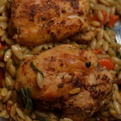 One Skillet Savory Chicken and Orzo