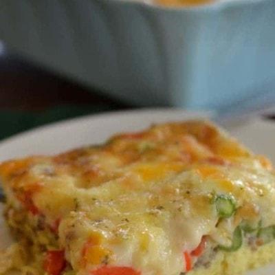 Cheesy Pepper Asparagus Breakfast Casserole