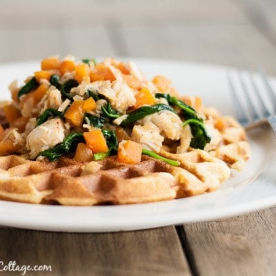 Chicken and Cornbread Waffles with Sweet Potato Hash