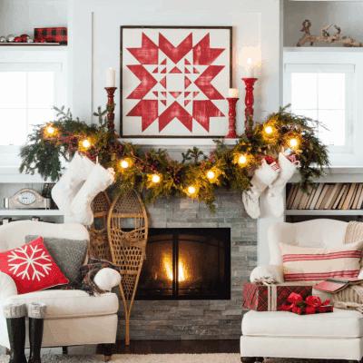 Cozy Quilt Christmas Mantel Decor