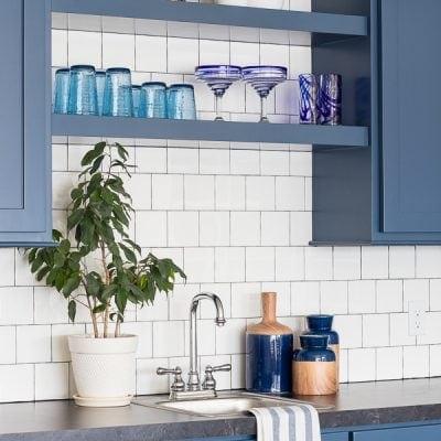 Basement Wet Bar – Navy Cabinets