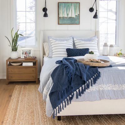 White and Blue Lake House Master Bedroom