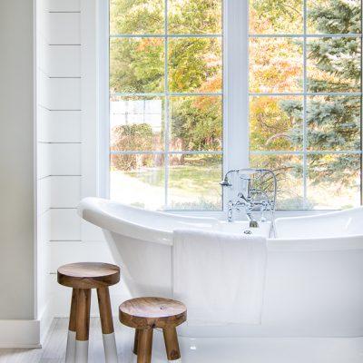 White and Blue Lake House Master Bathroom